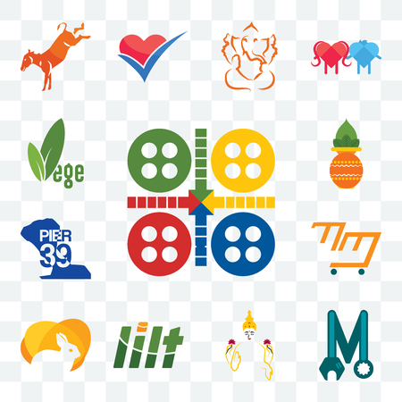 Set Of 13 transparent editable icons such as ludo, photo mechanic, laxmi, lilt, rabit, mini mart, pier 39, kalash, vege, web ui icon pack
