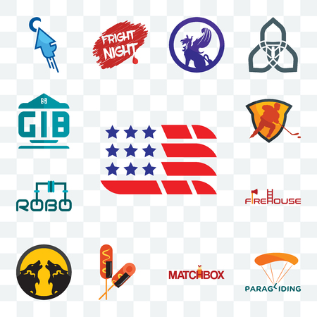 Set Of 13 transparent editable icons such as american flag, paragliding, matchbox, corn dog, pack wolf, firehouse, robo, power play hockey, generic bank, web ui icon