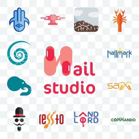 Set Of 13 transparent editable icons such as nail studio, commando, landlord, , mister, sax, elephant, hallmark, nautilus shell, web ui icon pack