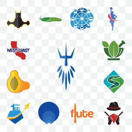 Set Of 13 transparent editable icons such as poseidon, outlaws, flute, golden ratio, , winding road, papaya, ayurvedic, west coast, web ui icon pack