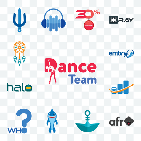 Set Of 13 transparent editable icons such as dance team, afro, paper boat, shark mascot, who, accounting, halo, embryo, dream catcher, web ui icon pack