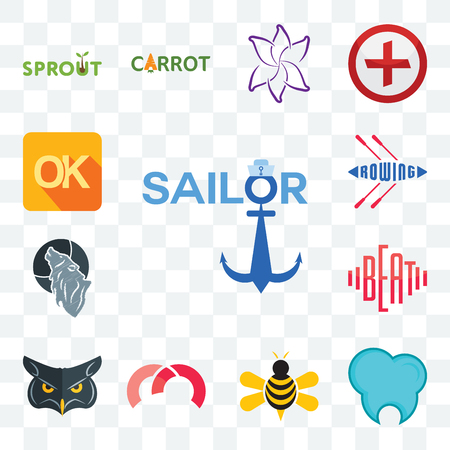 Set Of 13 transparent editable icons such as sailor, dental clinic, honey bee, m, , beat, wolf, rowing, web ui icon pack Illustration