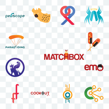 Set Of 13 transparent editable icons such as matchbox, comunication, double o, cookout, f, emo, griffon, corn dog, paragliding, web ui icon pack Stock Illustratie