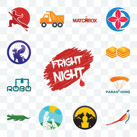 Set Of 13 transparent editable icons such as fright night, pheasant, pack wolf, dog trainer, croc, paragliding, robo, baklava, griffon, web ui icon