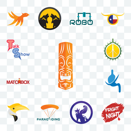 Set Of 13 transparent editable icons such as tiki, fright night, griffon, paragliding, hornbill, gastroenterology, matchbox, durian, talk show, web ui icon pack
