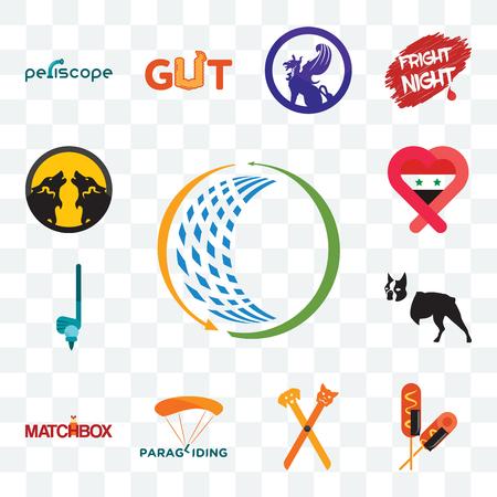 Satz von 13 transparenten bearbeitbaren Symbolen wie allgemeiner Handel, Corn Dog, Haustiergroomer, Gleitschirmfliegen, Streichholzschachtel, Boston Terrier, Syrien, Packwolf, Web-UI-Symbol