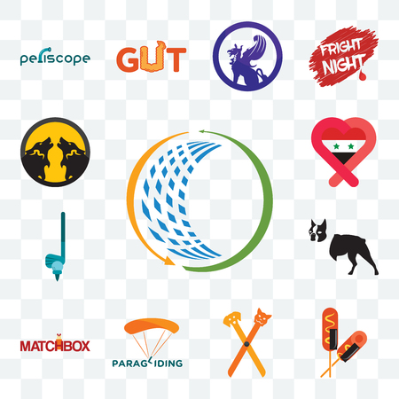 Set Of 13 transparent editable icons such as general trading, corn dog, pet groomer, paragliding, matchbox, boston terrier, , syria, pack wolf, web ui icon