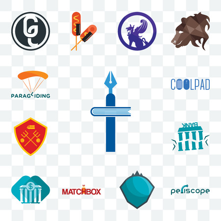 Set Of 13 transparent editable icons such as christian school, periscope, s.h.i.e.l.d., matchbox, all bank, fake man u, coolpad, paragliding, web ui icon pack Stock Illustratie