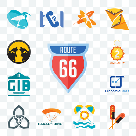 Set Of 13 transparent editable icons such as route 66, corn dog, pool party, paragliding, triquetra, economic times, generic bank, 2 year warranty, pack wolf, web ui icon