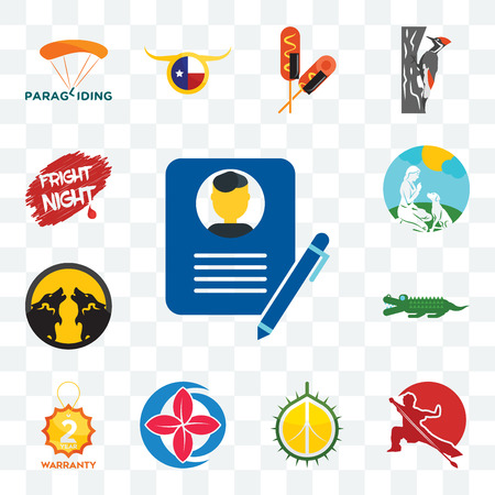 Set Of 13 transparent editable icons such as biography, wushu, durian, healer, 2 year warranty, croc, pack wolf, dog trainer, fright night, web ui icon Stock Illustratie