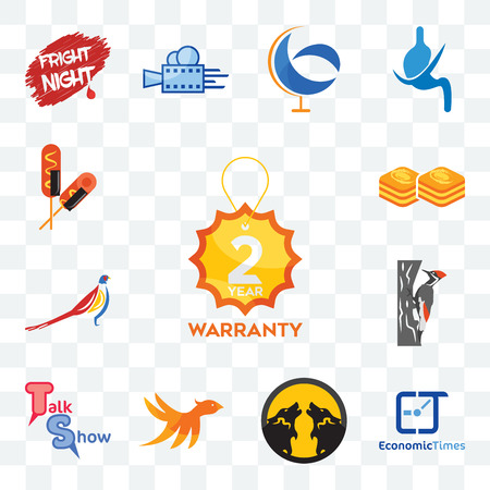 Set Of 13 transparent editable icons such as 2 year warranty, economic times, pack wolf, bird m, talk show, woodpecker, pheasant, baklava, corn dog, web ui icon Stock Illustratie