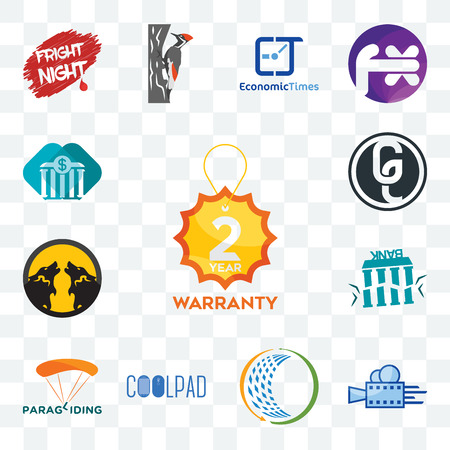 Set Of 13 transparent editable icons such as 2 year warranty, videography, general trading, coolpad, paragliding, fake bank, pack wolf, ge white, all web ui icon