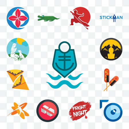Set Of 13 transparent editable icons such as coast guard, lense, fright night, no sugar, javelin, corn dog, crepe, pack wolf, dog trainer, web ui icon