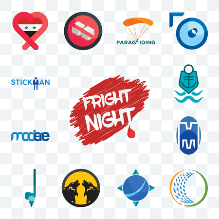 Set Of 13 transparent editable icons such as fright night, general trading, geodesy, pack wolf, , double m, modere, coast guard, stickman, web ui icon Çizim