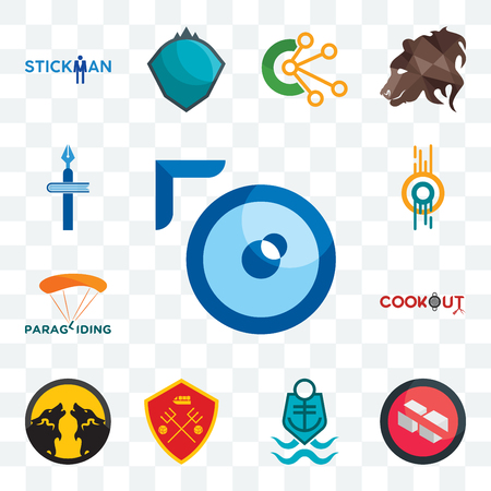 Set Of 13 transparent editable icons such as lense, no sugar, coast guard, man u, pack wolf, cookout, paragliding, double o, christian school, web ui icon Stock Illustratie