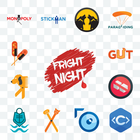 Set Of 13 transparent editable icons such as fright night, c language, lense, pet groomer, coast guard, no sugar, dog gut, corn dog, web ui icon pack Stock Illustratie