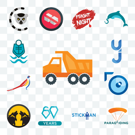 Set Of 13 transparent editable icons such as tipper, paragliding, stickman, diamond jubilee, pack wolf, lense, pheasant, yj, coast guard, web ui icon