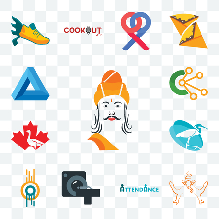Set Of 13 transparent editable icons such as ashoka, ganesh, attendance, ct scan, double o, egret, canada goose, comunication, penrose triangle, web ui icon pack Stock Illustratie
