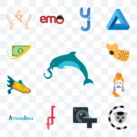 Set Of 13 transparent editable icons such as elephand dolphin, lemur, ct scan, double f, attendance, ashoka, flying shoe, hyena, cashback, web ui icon pack