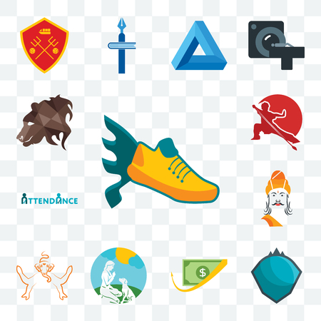 Set Of 13 transparent editable icons such as flying shoe, s.h.i.e.l.d., cashback, dog trainer, ganesh, ashoka, attendance, wushu, bear profile, web ui icon pack