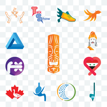 Set Of 13 transparent editable icons such as tiki, , general trading, gastroenterology, canada goose, syria, fx white, ashoka, penrose triangle, web ui icon pack Çizim