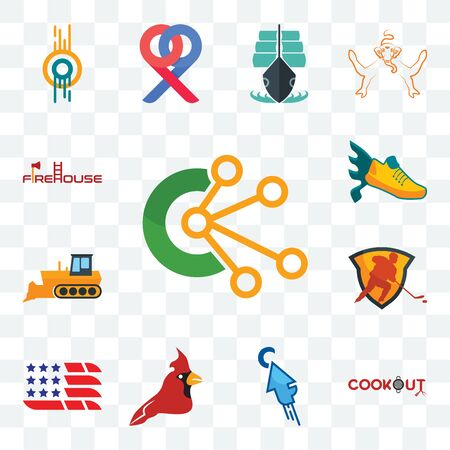 Set Of 13 transparent editable icons such as comunication, cookout, fastclick, cardinal bird, american flag, power play hockey, dozer, flying shoe, firehouse, web ui icon pack