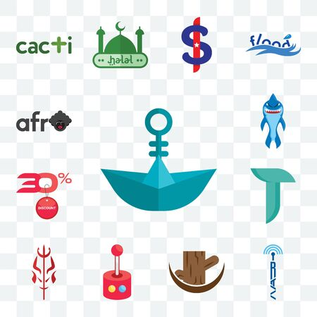 Set Of 13 transparent editable icons such as paper boat, radio tower, tree stump, retropie, satan, teal, 30% discount, shark mascot, afro, web ui icon pack