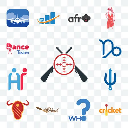 Set Of 13 transparent editable icons such as shooters, cricket, who, chisel, steak house, trident, hr, capricorn, dance team, web ui icon pack