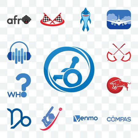 Set Of 13 transparent editable icons such as handicap accessible, compas, venmo, cricket, capricorn, bull, who, umbrella, audio visual, web ui icon pack Stock Illustratie