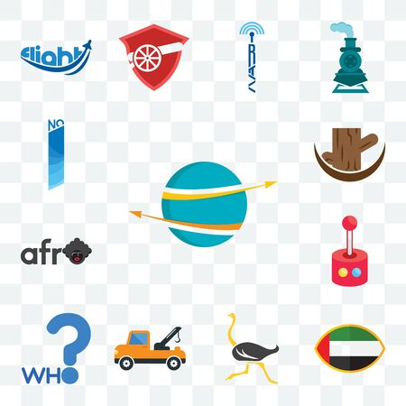 Set Of 13 transparent editable icons such as import export, uae flag, ostrich, tow truck, who, retropie, afro, tree stump, no 1, web ui icon pack