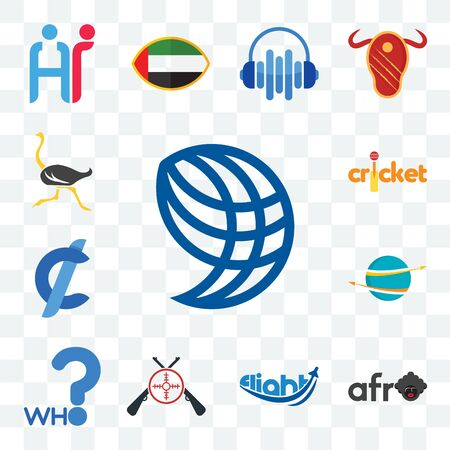 Set Of 13 transparent editable icons such as wire globe, afro, flight, shooters, who, import export, cent, cricket, ostrich, web ui icon pack