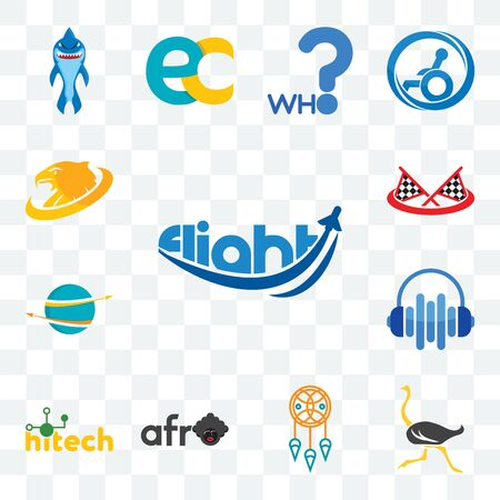 Set Of 13 transparent editable icons such as flight, ostrich, dream catcher, afro, hitech, audio visual, import export, checke flag, golden eagle, web ui icon pack