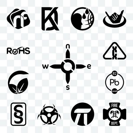 Set Of 13 transparent editable icons such as n s e w, fire dept, pi, contagion, paragraf, chemical, vegan vs vegetarian, carcinogen, rohs, web ui icon pack