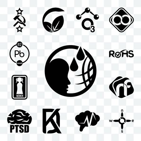 Set Of 13 transparent editable icons such as, n s e w, epilepsy, kd, ptsd, nf, women's restroom, rohs, chemical, web ui icon pack