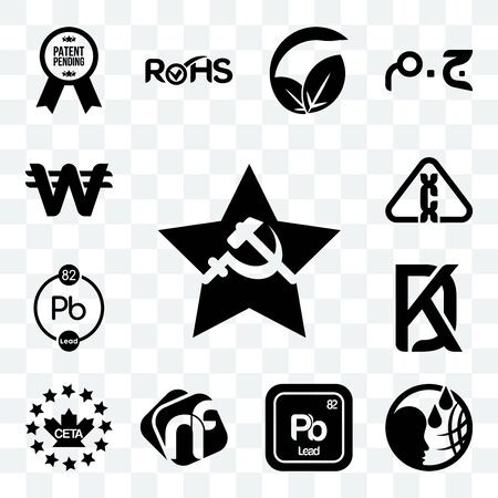 Set Of 13 transparent editable icons such as comunist, , pb chemical, nf, ceta, kd, carcinogen, south korean currency, web ui icon pack