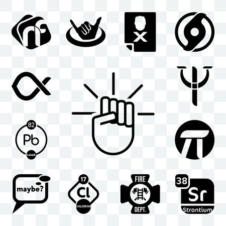 Set Of 13 transparent editable icons such as, strontium, fire dept, chlorine, maybe, pi, chemical, psy, alfa, web ui icon pack Illustration