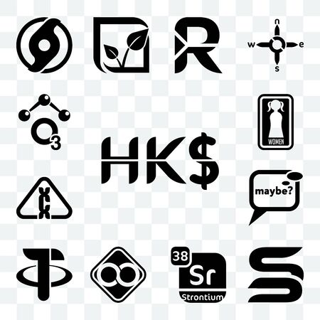 Set Of 13 transparent editable icons such as hong kong dollar, sb, strontium, html infinity, tether, maybe, carcinogen, women's restroom, chemical, web ui icon pack