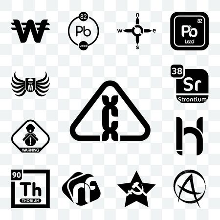 Set Of 13 transparent editable icons such as carcinogen, punk anarchy, comunist, nf, thorium, hh, choking hazard, strontium, army airborne, web ui icon pack Ilustração