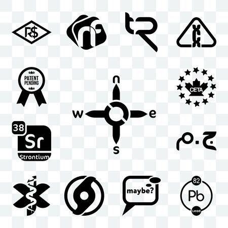 Set Of 13 transparent editable icons such as n s e w, chemical, maybe, official hurricane, paramedic, egyptian pound, strontium, ceta, patent pending, web ui icon pack