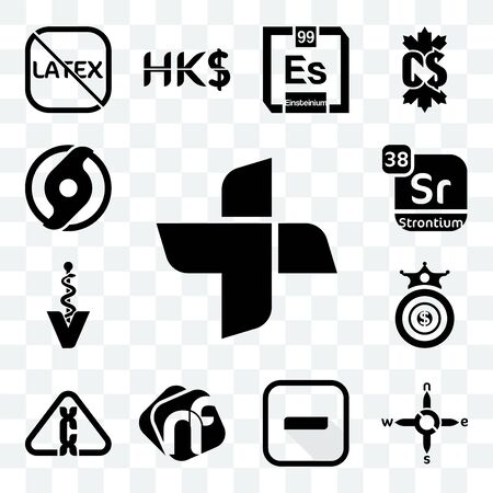 Set Of 13 transparent editable icons such as plus, n s e w, hyphen, nf, carcinogen, oligarchy, veterinary caduceus, strontium, official hurricane, web ui icon pack
