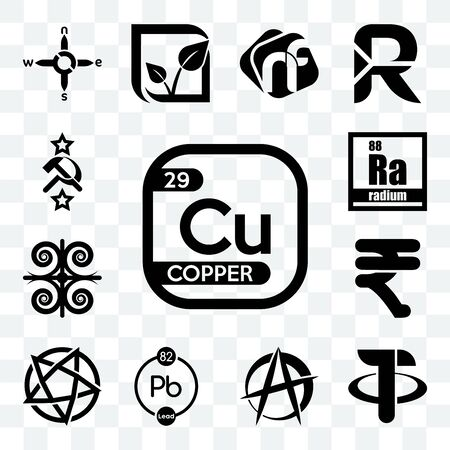 Set Of 13 transparent editable icons such as copper, tether, anarchist, chemical, devil's, rupees, , radium, soviet, web ui icon pack