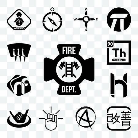 Set Of 13 transparent editable icons such as fire dept, kaizen, punk anarchy, , hang ten, hh, nf, thorium, defrost, web ui icon pack Ilustração