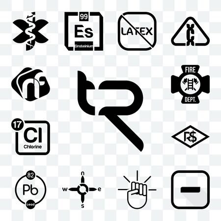 Set Of 13 transparent editable icons such as tr, hyphen, , n s e w, chemical, brazilian real, periodic table chlorine, fire dept, nf, web ui icon pack Ilustração