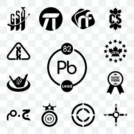 Set Of 13 transparent editable icons such as chemical, n s e w, copyright, oligarchy, egyptian pound, patent pending, hang ten, ceta, carcinogen, web ui icon pack Foto de archivo - 150282412