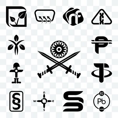 Set Of 13 transparent editable icons such as indian army, chemical, sb, n s e w, paragraf, tether, fallen soldier, cuban peso, dietitian, web ui icon pack Ilustração