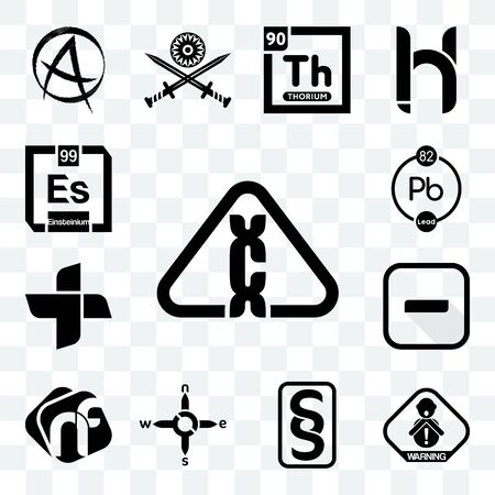 Set Of 13 transparent editable icons such as carcinogen, choking hazard, paragraf, n s e w, nf, hyphen, plus, chemical, einsteinium, web ui icon pack Ilustração