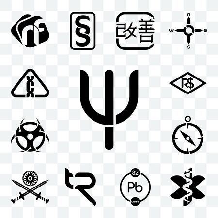 Set Of 13 transparent editable icons such as psi, paramedic, chemical, tr, indian army, compas, contagion, brazilian real, carcinogen, web ui icon pack