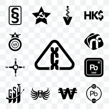 Set Of 13 transparent editable icons such as carcinogen, chemical, south korean currency, army airborne, gst, pb n s e w, nf, oligarchy, web ui icon pack