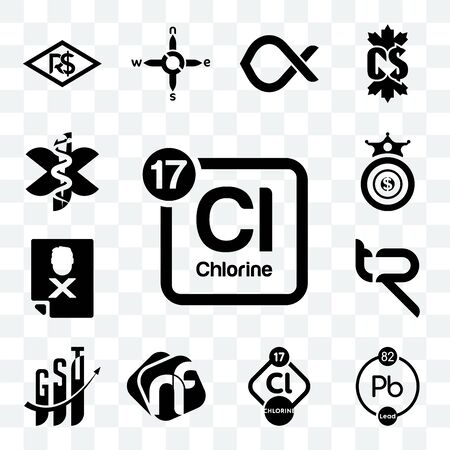 Set Of 13 transparent editable icons such as periodic table chlorine, chemical, nf, gst, tr, blacklisted, oligarchy, paramedic, web ui icon pack Ilustração