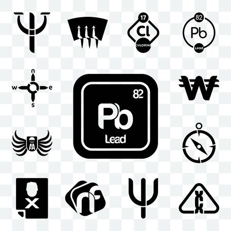 Set Of 13 transparent editable icons such as pb chemical, carcinogen, psi, nf, blacklisted, compas, army airborne, south korean currency, n s e w, web ui icon pack Ilustração